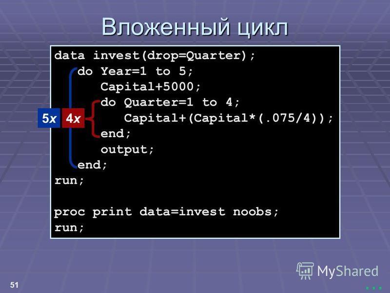 51... data invest(drop=Quarter); do Year=1 to 5; Capital+5000; do Quarter=1 to 4; Capital+(Capital*(.075/4)); end; output; end; run; proc print data=invest noobs; run; Вложенный цикл 5x5x4x4x