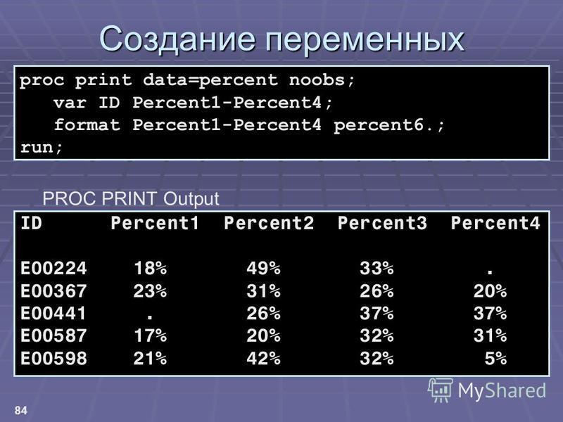 84 Создание переменных ID Percent1 Percent2 Percent3 Percent4 E00224 18% 49% 33%. E00367 23% 31% 26% 20% E00441. 26% 37% 37% E00587 17% 20% 32% 31% E00598 21% 42% 32% 5% proc print data=percent noobs; var ID Percent1-Percent4; format Percent1-Percent