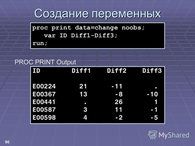 90 Создание переменных ID Diff1 Diff2 Diff3 E00224 21 -11. E00367 13 -8 -10 E00441. 26 1 E00587 3 11 -1 E00598 4 -2 -5 proc print data=change noobs; var ID Diff1-Diff3; run; PROC PRINT Output