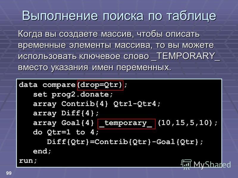 99 Выполнение поиска по таблице Когда вы создаете массив, чтобы описать временные элементы массива, то вы можете использовать ключевое слово _TEMPORARY_ вместо указания имен переменных. data compare(drop=Qtr); set prog2.donate; array Contrib{4} Qtr1-