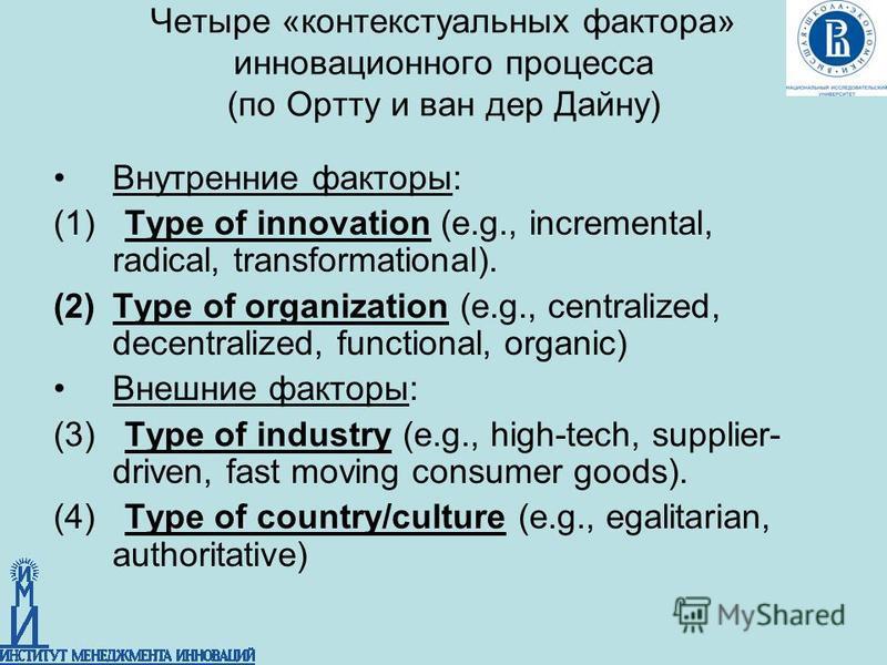 Четыре «контекстуальных фактора» инновационного процесса (по Ортту и ван дер Дайну) Внутренние факторы: (1) Type of innovation (e.g., incremental, radical, transformational). (2)Type of organization (e.g., centralized, decentralized, functional, orga