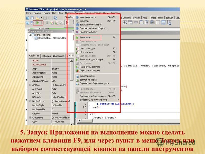 5. Запуск Приложения на выполнение можно сделать нажатием клавиши F9, или через пункт в меню Запуск или выбором соответствующей кнопки на панели инструментов