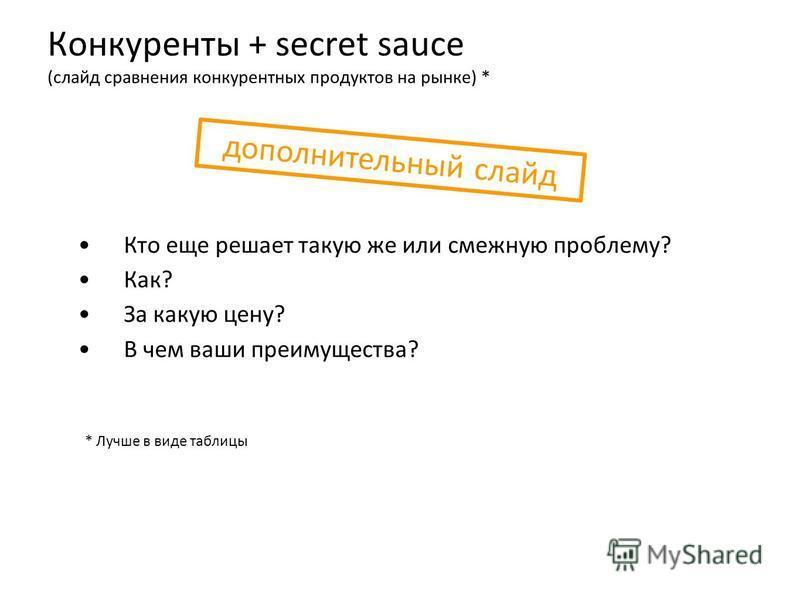 Конкуренты + secret sauce (слайд сравнения конкурентных продуктов на рынке) * Кто еще решает такую же или смежную проблему? Как? За какую цену? В чем ваши преимущества? * Лучше в виде таблицы дополнительный слайд
