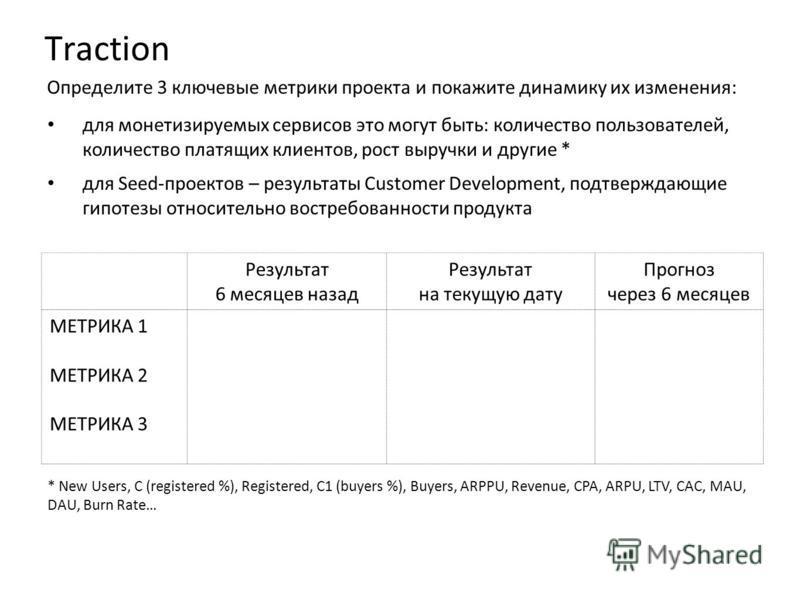 Определите 3 ключевые метрики проекта и покажите динамику их изменения: Результат 6 месяцев назад Результат на текущую дату Прогноз через 6 месяцев МЕТРИКА 1 МЕТРИКА 2 МЕТРИКА 3 Traction * New Users, C (registered %), Registered, С1 (buyers %), Buyer