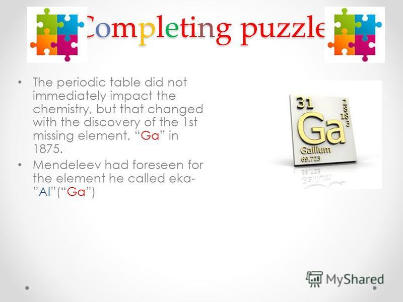 Completing puzzle The periodic table did not immediately impact the chemistry, but that changed with the discovery of the 1st missing element, Ga in 1875. Mendeleev had foreseen for the element he called eka-Al(Ga)
