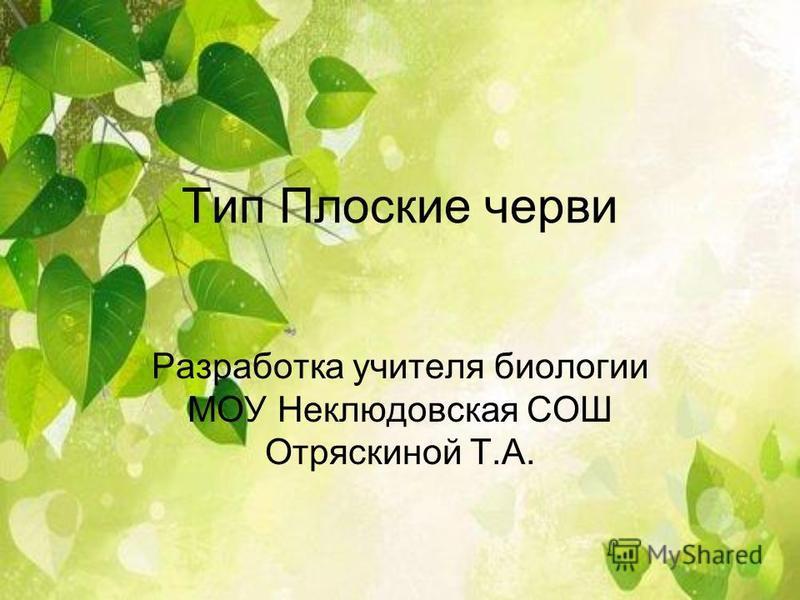 Тип Плоские черви Разработка учителя биологии МОУ Неклюдовская СОШ Отряскиной Т.А.