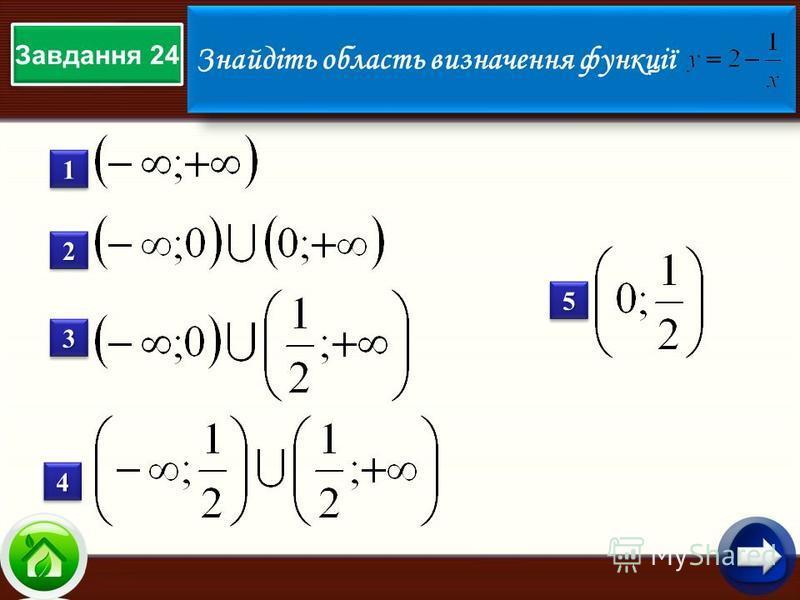 Завдання 24 Знайдіть область визначення функції 11 22 33 44 55
