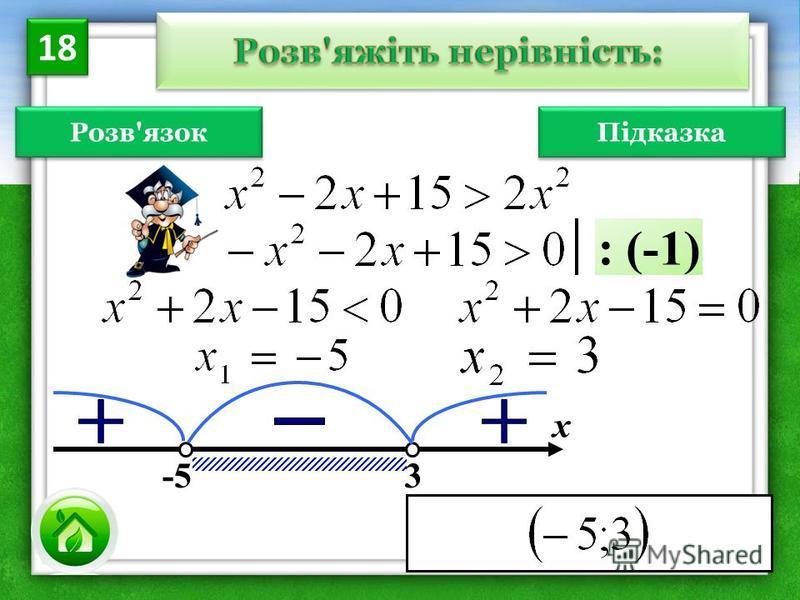 Розв'язок х -5 3 : (-1) 18 Підказка