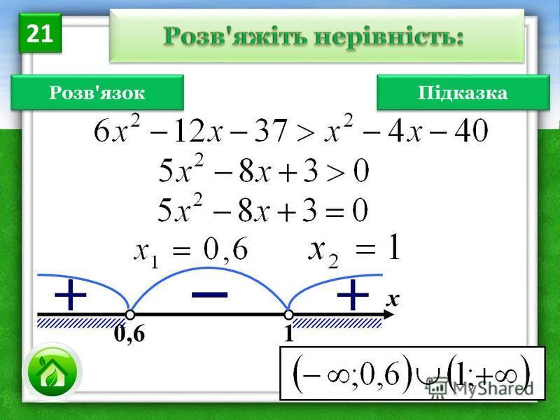 Розв'язок х 0,6 1 21 Підказка