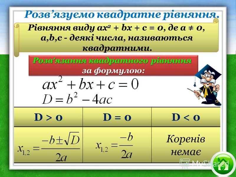 D > 0D = 0D < 0 Коренів немає Розв язання квадратного рівняння за формулою: Розв язання квадратного рівняння за формулою: Рівняння виду ах 2 + bх + с = 0, де а 0, а,b,с - деякі числа, називаються квадратними. Розвязуємо квадратне рівняння.
