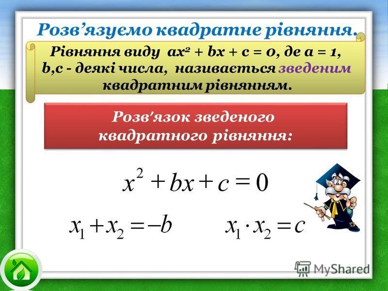 Розв язок зведеного квадратного рівняння: Розв язок зведеного квадратного рівняння: Рівняння виду ах 2 + bх + с = 0, де а = 1, b,с - деякі числа, називається зведеним квадратним рівнянням. 0 2 cbx x Розвязуємо квадратне рівняння.