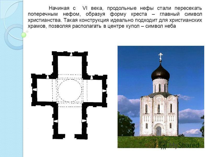 Начиная с VI века, продольные нефы стали пересекать поперечным нефом, образуя форму креста – главный символ христианства. Такая конструкция идеально подходит для христианских храмов, позволяя располагать в центре купол – символ неба