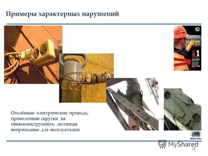 Примеры характерных нарушений 15 Оголённые электрические провода, проволочные скрутки на пневмо инструменте, лестницы непригодные для эксплуатации