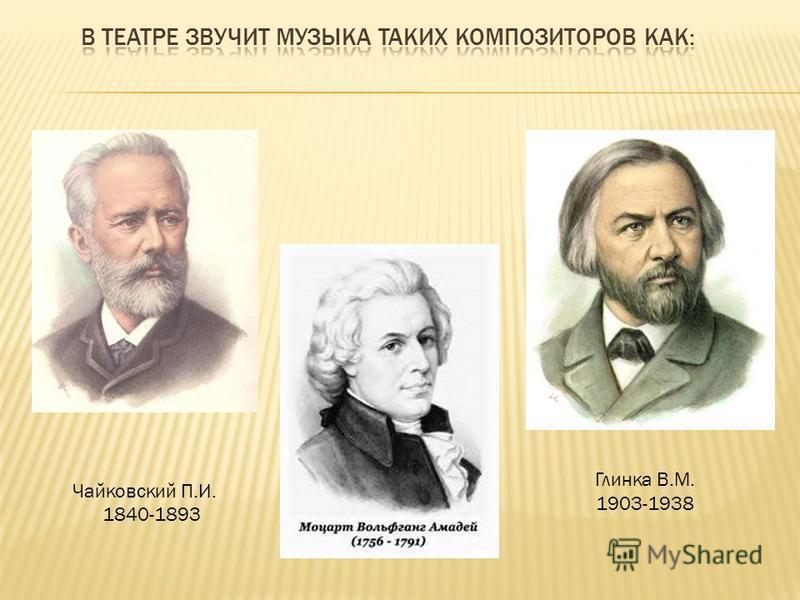 Глинка В.М. 1903-1938 Чайковский П.И. 1840-1893