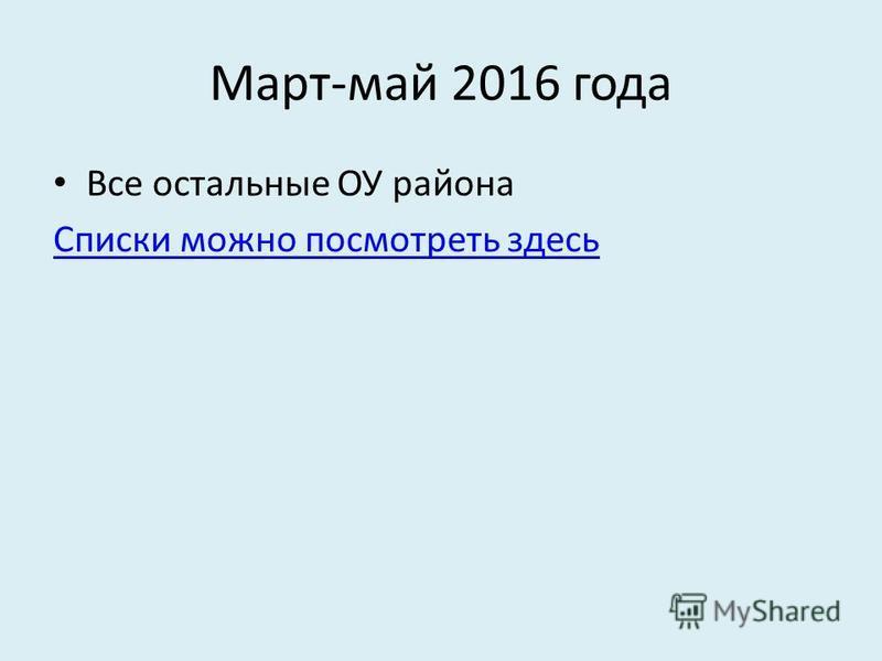 Март-май 2016 года Все остальные ОУ района Списки можно посмотреть здесь