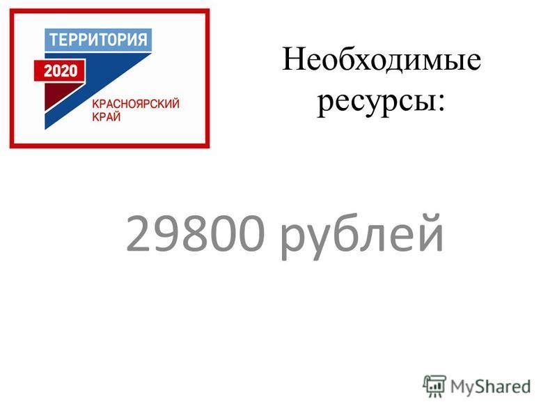 Необходимые ресурсы: 29800 рублей