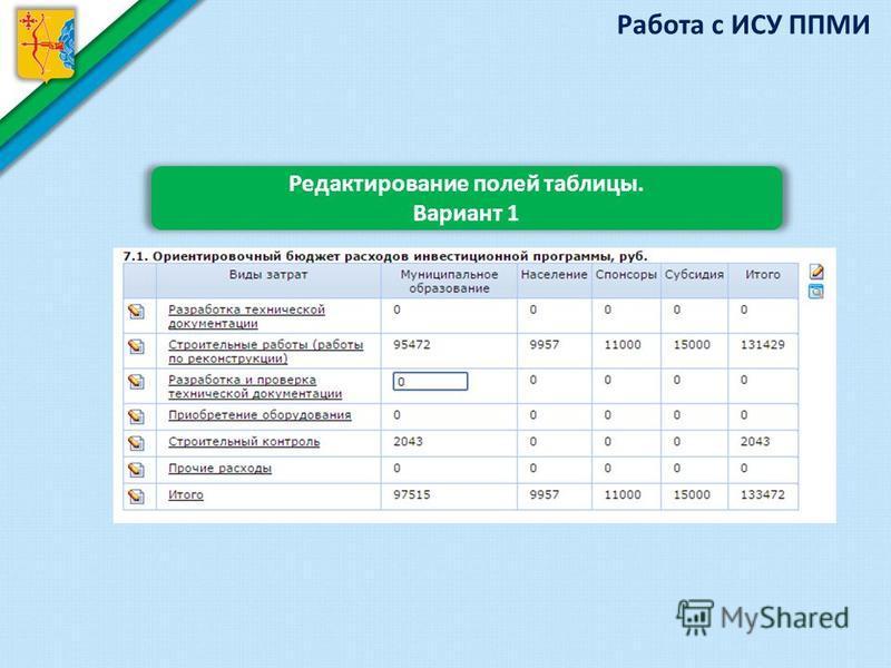 Работа с ИСУ ППМИ Редактирование полей таблицы. Вариант 1