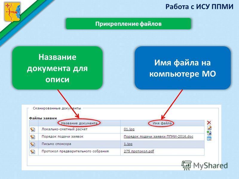 Работа с ИСУ ППМИ Прикрепление файлов Название документа для описи Имя файла на компьютере МО
