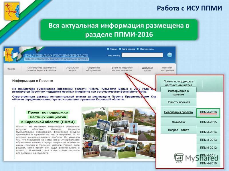 Работа с ИСУ ППМИ Вся актуальная информация размещена в разделе ППМИ-2016