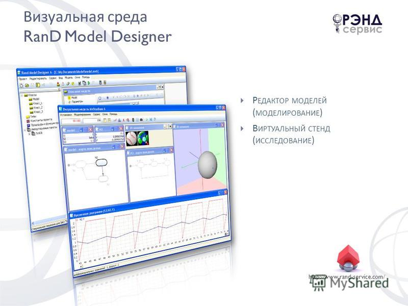 http://www.rand-service.com/ Визуальная среда RanD Model Designer Р ЕДАКТОР МОДЕЛЕЙ ( МОДЕЛИРОВАНИЕ ) В ИРТУАЛЬНЫЙ СТЕНД ( ИССЛЕДОВАНИЕ )