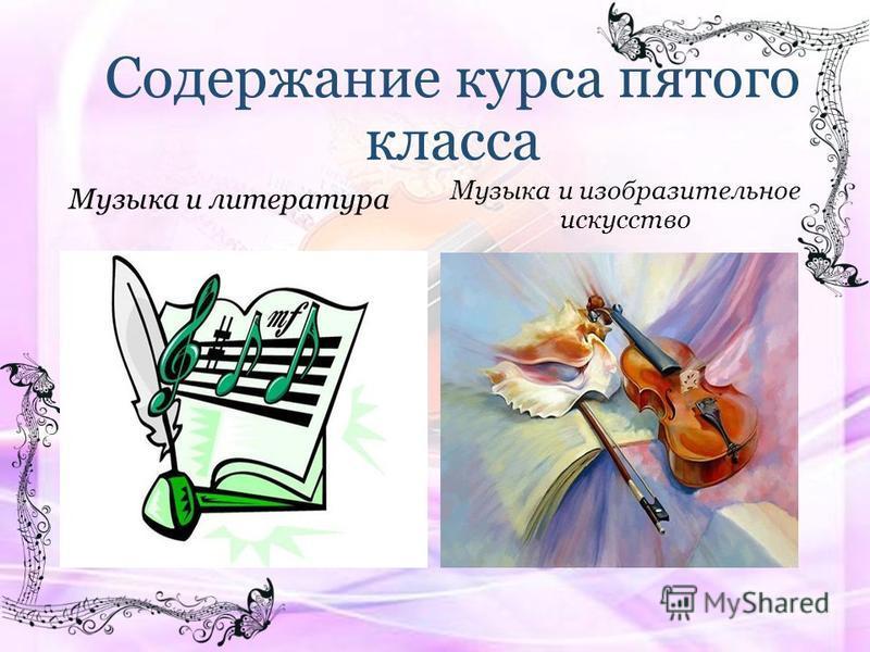 Содержание курса пятого класса Музыка и литература Музыка и изобразительное искусство