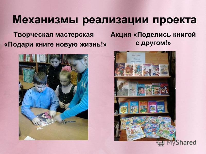 Механизмы реализации проекта Творческая мастерская «Подари книге новую жизнь!» Акция «Поделись книгой с другом!»