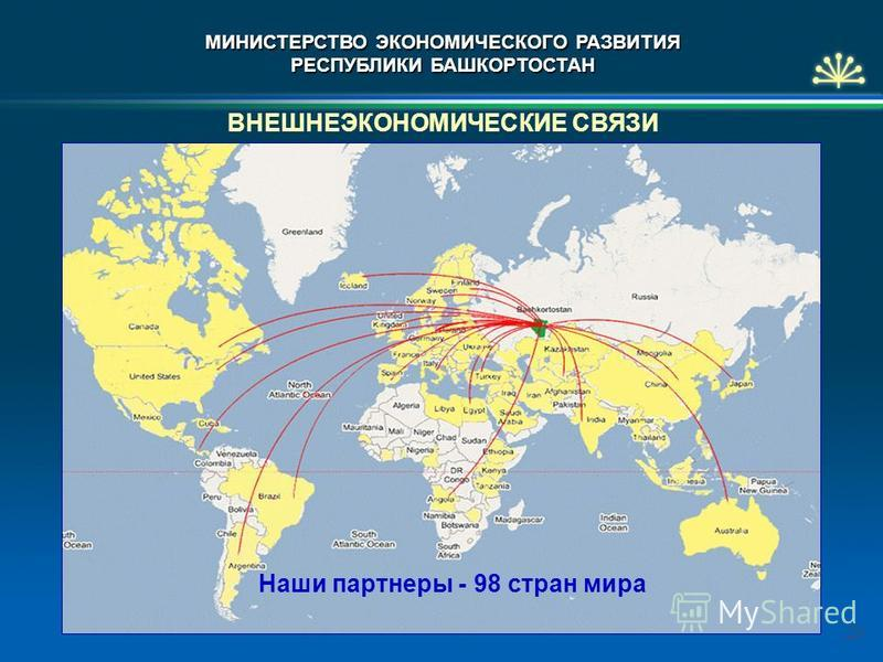ВНЕШНЕЭКОНОМИЧЕСКИЕ СВЯЗИ Наши партнеры - 98 стран мира 20 МИНИСТЕРСТВО ЭКОНОМИЧЕСКОГО РАЗВИТИЯ РЕСПУБЛИКИ БАШКОРТОСТАН