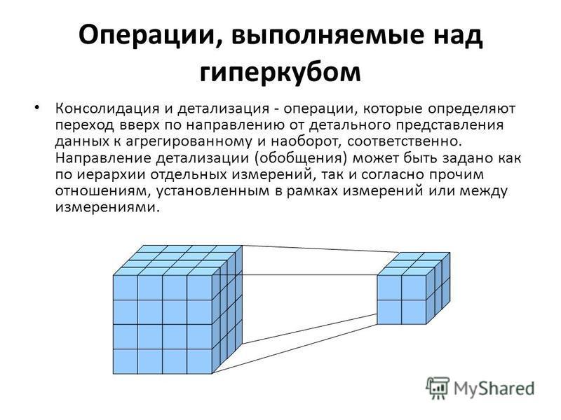 Операции, выполняемые над гиперкубом Консолидация и детализация - операции, которые определяют переход вверх по направлению от детального представления данных к агрегированному и наоборот, соответственно. Направление детализации (обобщения) может быт