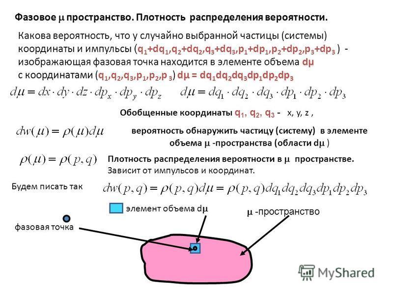 Фазовое пространство. Плотность распределения вероятности. вероятность обнаружить частицу (системму) в элементе объема -пространства (области d ) Будем писать так Плотность распределения вероятности в пространстве. Зависит от импульсов и координат. О
