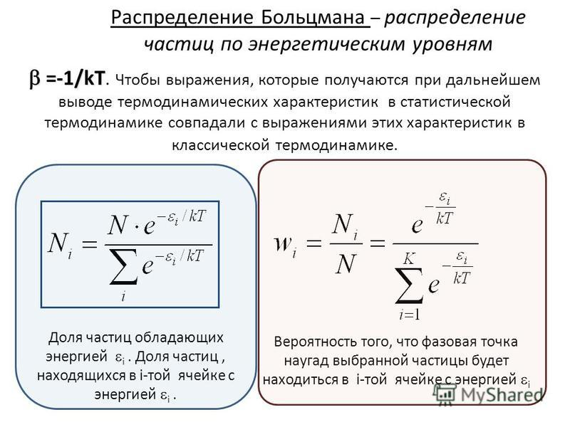 Распределение Больцмана – распределение частиц по энергетическим уровням =-1/kT =-1/kT. Чтобы выражения, которые получаются при дальнейшем выводе термодинамических характеристик в статистической термодинамике совпадали с выражениями этих характеристи