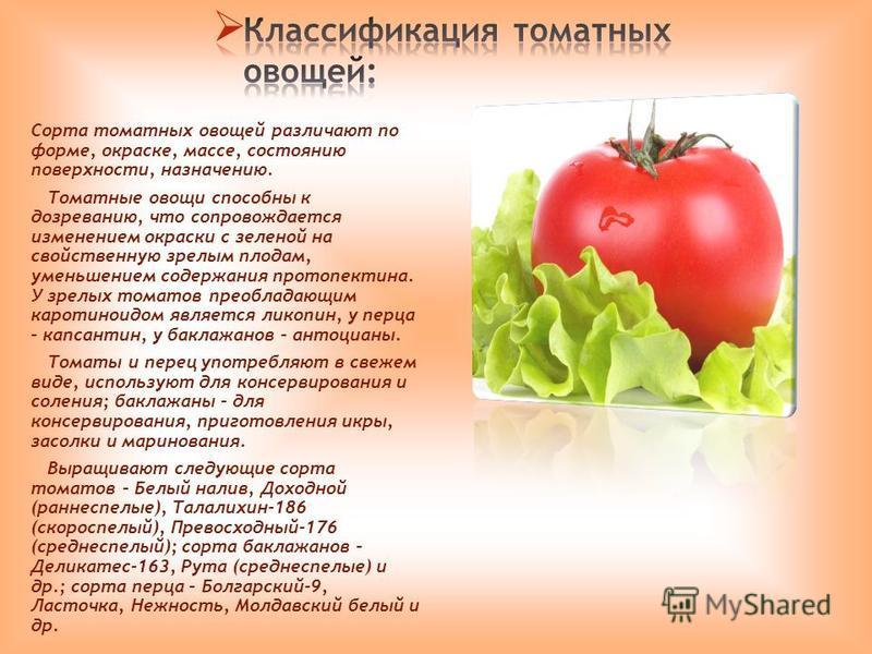 Сорта томатных овощей различают по форме, окраске, массе, состоянию поверхности, назначению. Томатные овощи способны к дозреванию, что сопровождается изменением окраски с зеленой на свойственную зрелым плодам, уменьшением содержания протопектина. У з