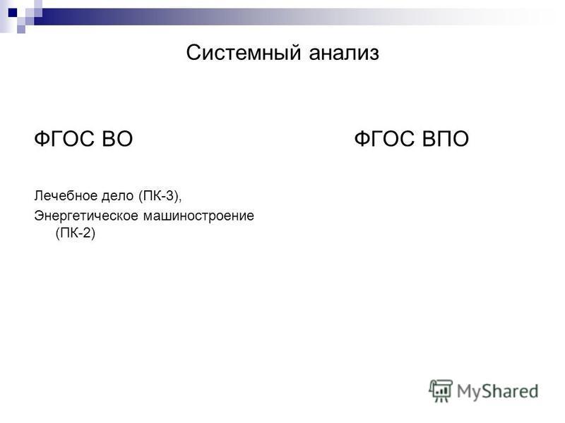 Системный анализ ФГОС ВО Лечебное дело (ПК-3), Энергетическое машиностроение (ПК-2) ФГОС ВПО