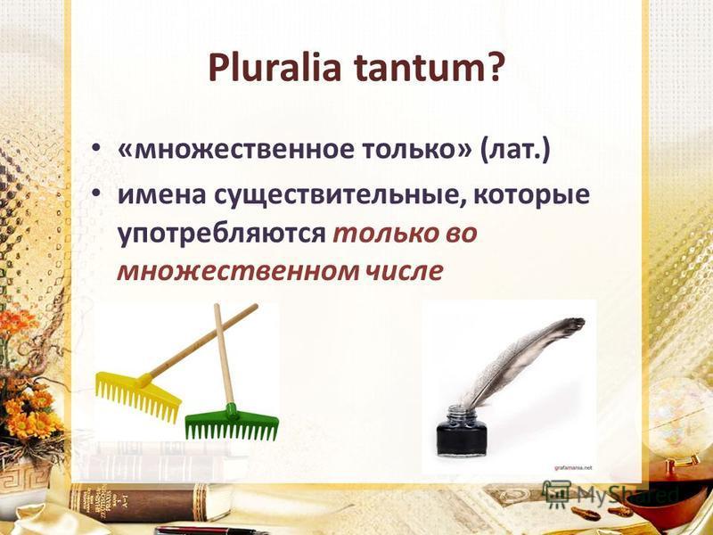 Pluralia tantum? «множественное только» (лат.) имена существительные, которые употребляются только во множественном числе