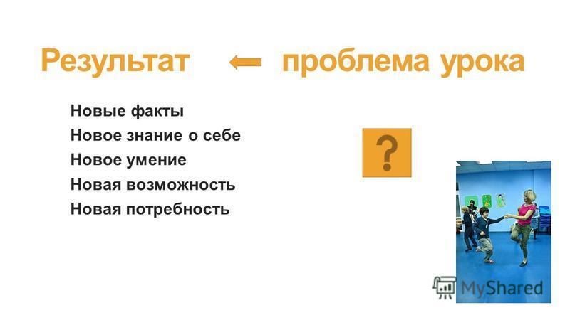 Результат проблема урока Новые факты Новое знание о себе Новое умение Новая возможность Новая потребность
