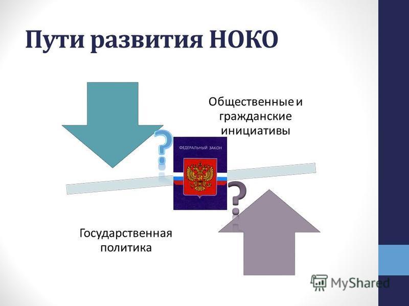Пути развития НОКО Общественные и гражданские инициативы Государственная политика