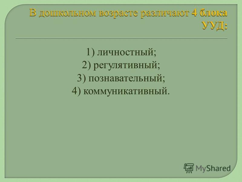 1) личностный; 2) регулятивный; 3) познавательный; 4) коммуникативный.