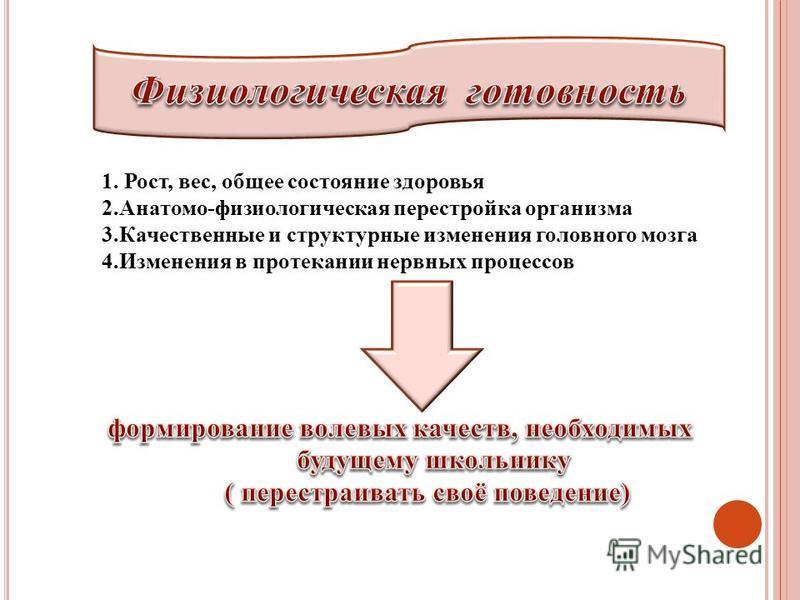 1. Рост, вес, общее состояние здоровья 2.Анатомо-физиологическая перестройка организма 3. Качественные и структурные изменения головного мозга 4. Изменения в протекании нервных процессов