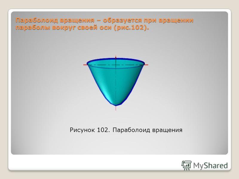 Параболоид вращения – образуется при вращении параболы вокруг своей оси (рис.102). Рисунок 102. Параболоид вращения