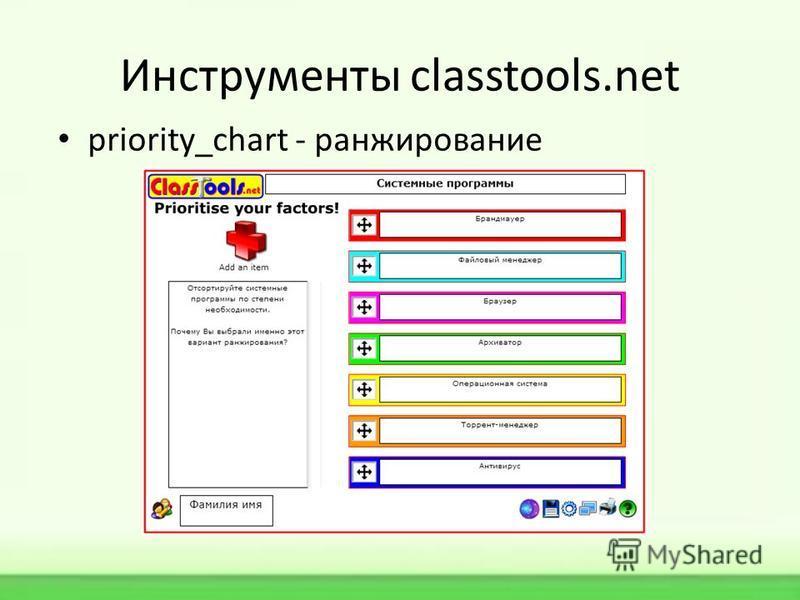 Инструменты classtools.net priority_chart - ранжирование