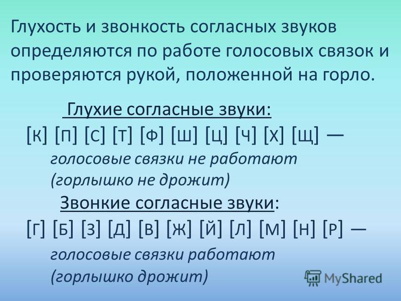 Глухость и звонкость согласных звуков определяются по работе голосовых связок и проверяются рукой, положенной на горло. Глухие согласные звуки: [ К ] [ П ] [ С ] [ Т ] [ Ф ] [ Ш ] [ Ц ] [ Ч ] [ Х ] [ Щ ] голосовые связки не работают (горлышко не дрож