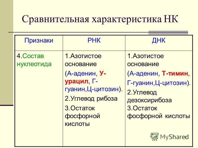 7 Сравнительная характеристика НК ПризнакиРНКДНК 1. Нахожден ие в клетке Ядро, митохондрии, рибосомы, хлоропласты. Ядро, митохондрии, хлоропласты. 2. Нахожден ие в ядре Ядрышко Хромосомы 3. Состав нуклеотида Одинарная полинуклеотидная цепочка, кроме