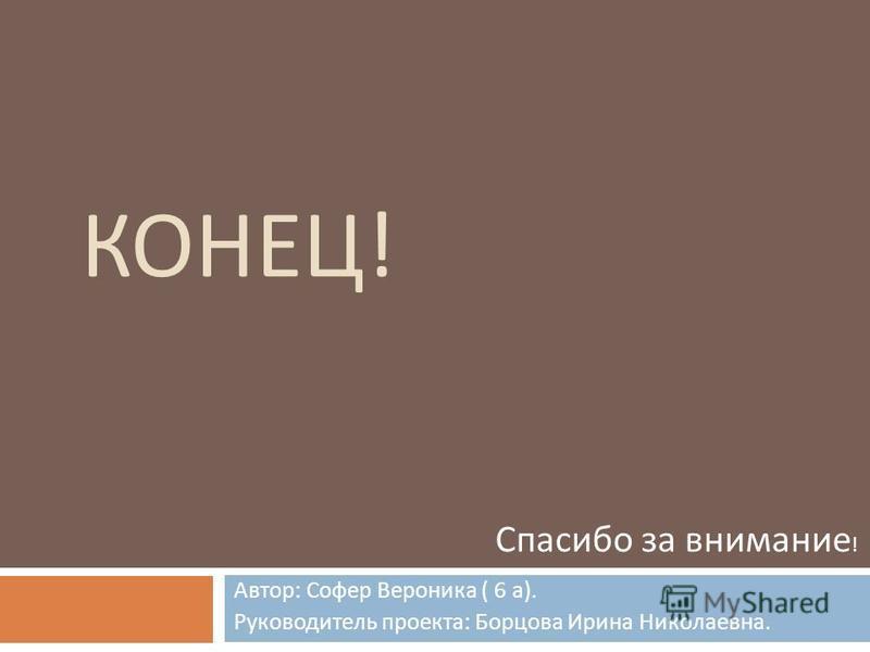 КОНЕЦ ! Автор : Софер Вероника ( 6 а ). Руководитель проекта : Борцова Ирина Николаевна. Спасибо за внимание !