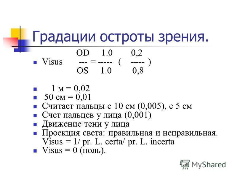 Градации остроты зрения. OD 1.0 0,2 Visus --- = ----- ( ----- ) OS 1.0 0,8 1 м = 0,02 50 см = 0,01 Считает пальцы с 10 см (0,005), с 5 см Счет пальцев у лица (0,001) Движение тени у лица Проекция света: правильная и неправильная. Visus = 1/ pr. L. ce