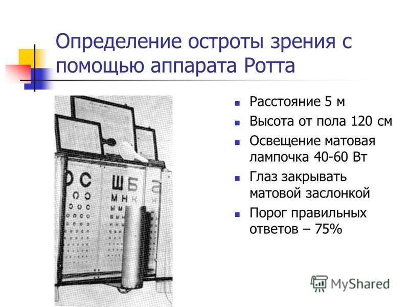Определение остроты зрения с помощью аппарата Ротта Расстояние 5 м Высота от пола 120 см Освещение матовая лампочка 40-60 Вт Глаз закрывать матовой заслонкой Порог правильных ответов – 75%