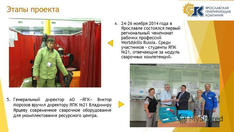 4. 24-26 ноября 2014 года в Ярославле состоялся первый региональный чемпионат рабочих профессий Worldskills Russia. Среди участников – студенты ЯПК 21, отвечающие за модуль сварочных компетенций. Этапы проекта 5. Генеральный директор АО «ЯГК» Виктор
