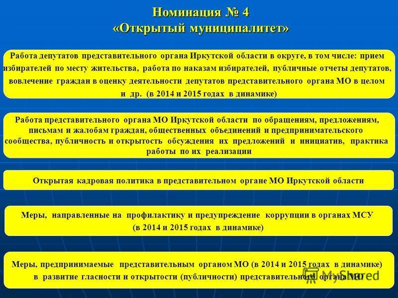Работа депутатов представительного органа Иркутской области в округе, в том числе: прием избирателей по месту жительства, работа по наказам избирателей, публичные отчеты депутатов, вовлечение граждан в оценку деятельности депутатов представительного