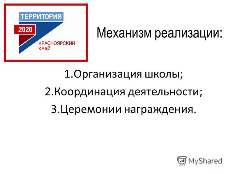 Механизм реализации: 1. Организация школы; 2. Координация деятельности; 3. Церемонии награждения.