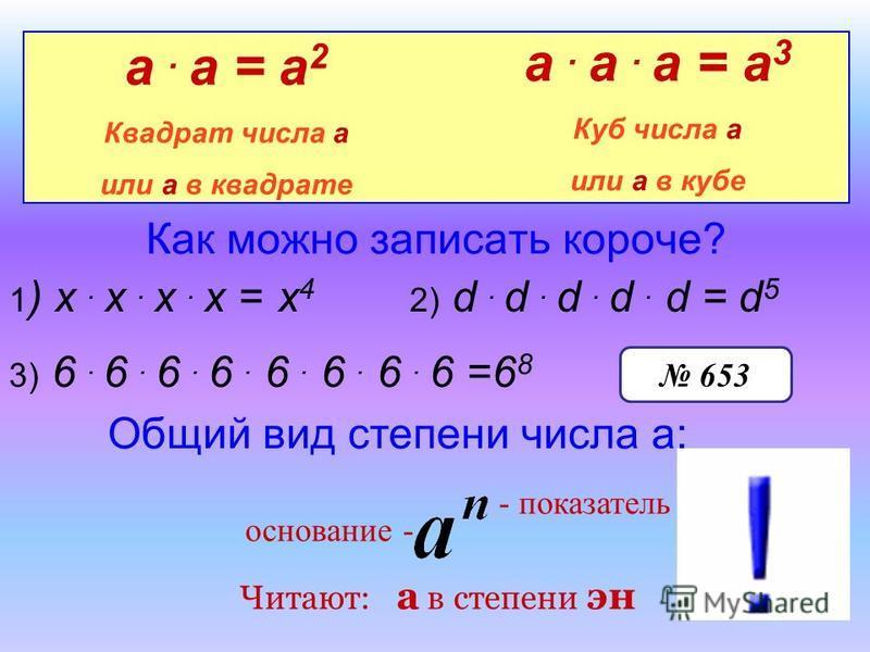 Как можно записать короче? 1 ) х. х. х. х = х 4 2) d. d. d. d. d =d5d5 а. а = а 2 Квадрат числа а или а в квадрате а. а. а = а 3 Куб числа а или а в кубе 3) 6. 6. 6. 6. 6. 6. 6. 6 =6868 Общий вид степени числа а: - показатель основание - 653 Читают: