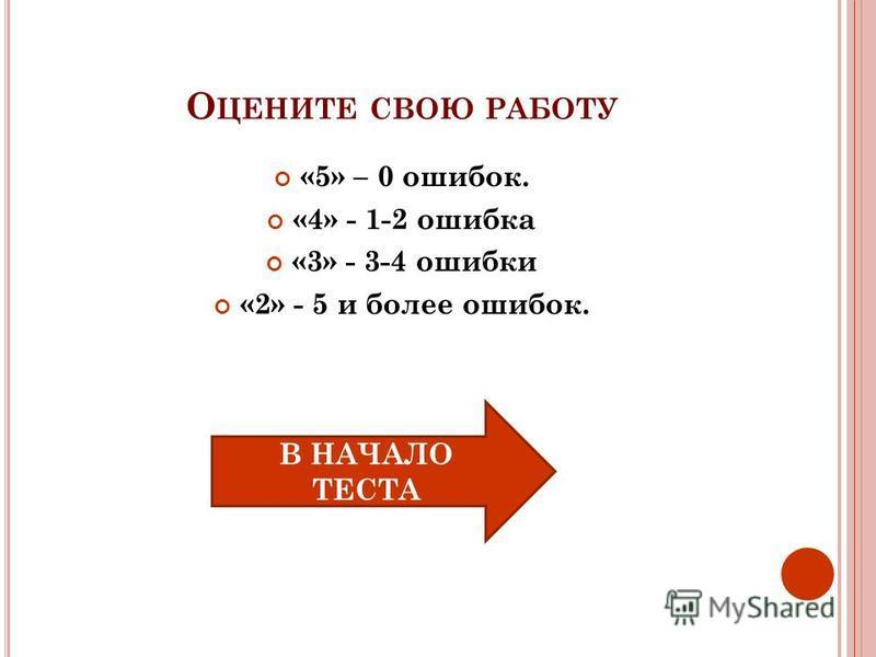 О ЦЕНИТЕ СВОЮ РАБОТУ «5» – 0 ошибок. «4» - 1-2 ошибка «3» - 3-4 ошибки «2» - 5 и более ошибок. В НАЧАЛО ТЕСТА