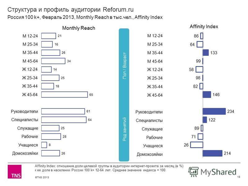 ©TNS 2013 X AXIS LOWER LIMIT UPPER LIMIT CHART TOP Y AXIS LIMIT Структура и профиль аудитории Reforum.ru 18 Affinity Index: отношение доли целевой группы в аудитории интернет-проекта за месяц (в %) к ее доле в населении России 100 k+ 12-64 лет. Средн